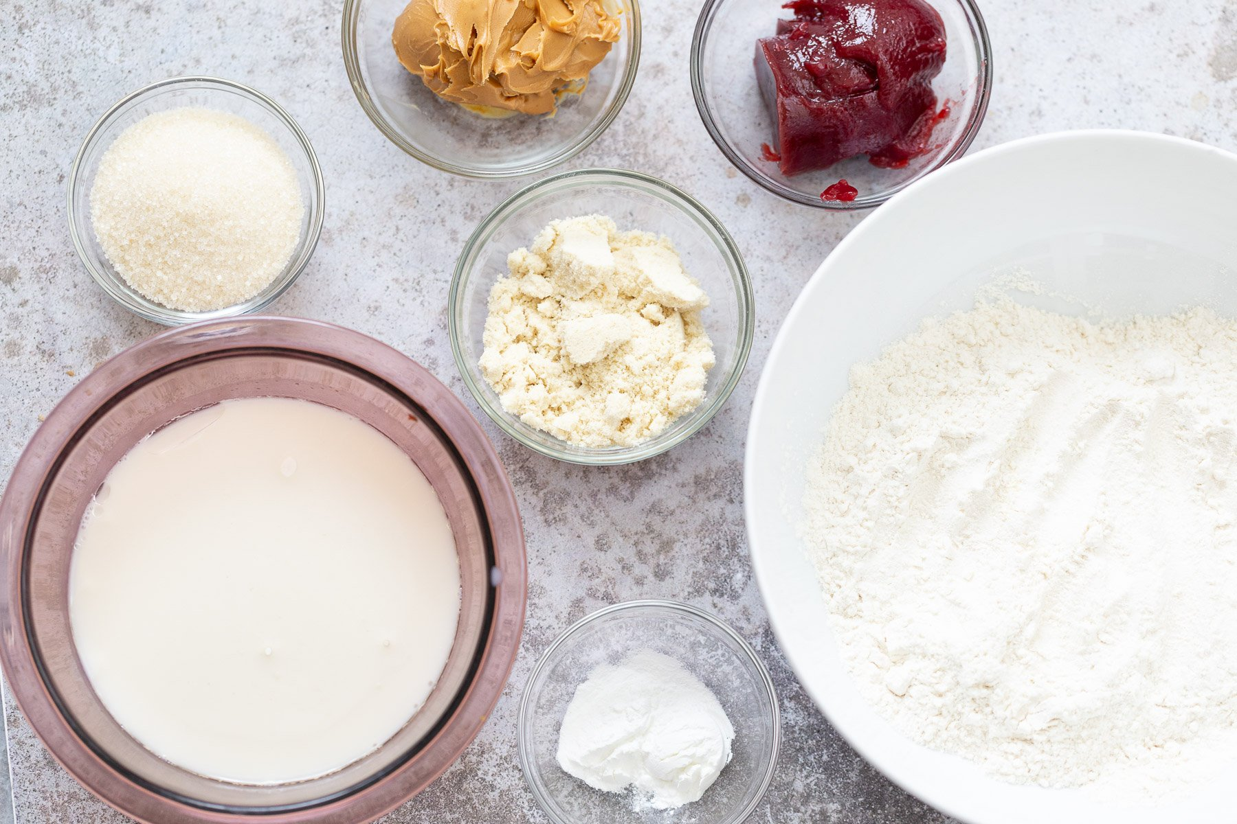 overhead shot of ingredients for peanut butter and jelly cake