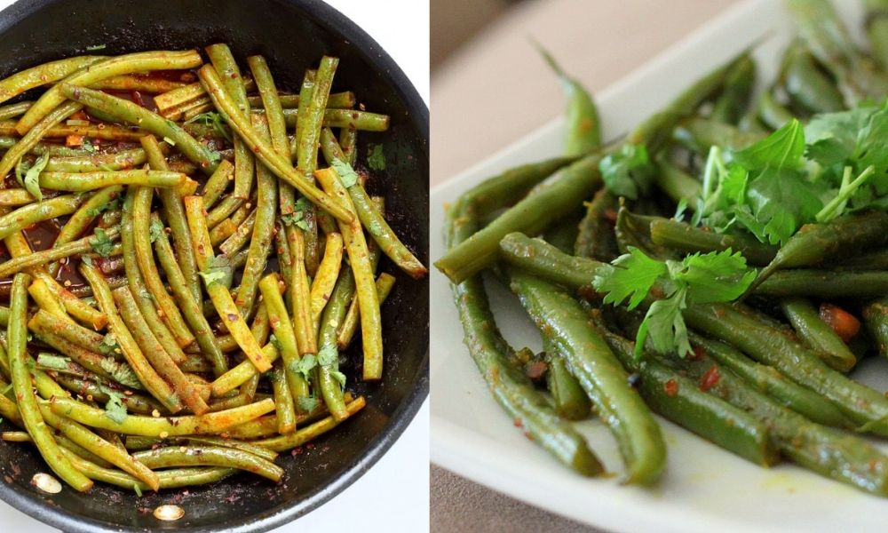 collage of green bean recipes