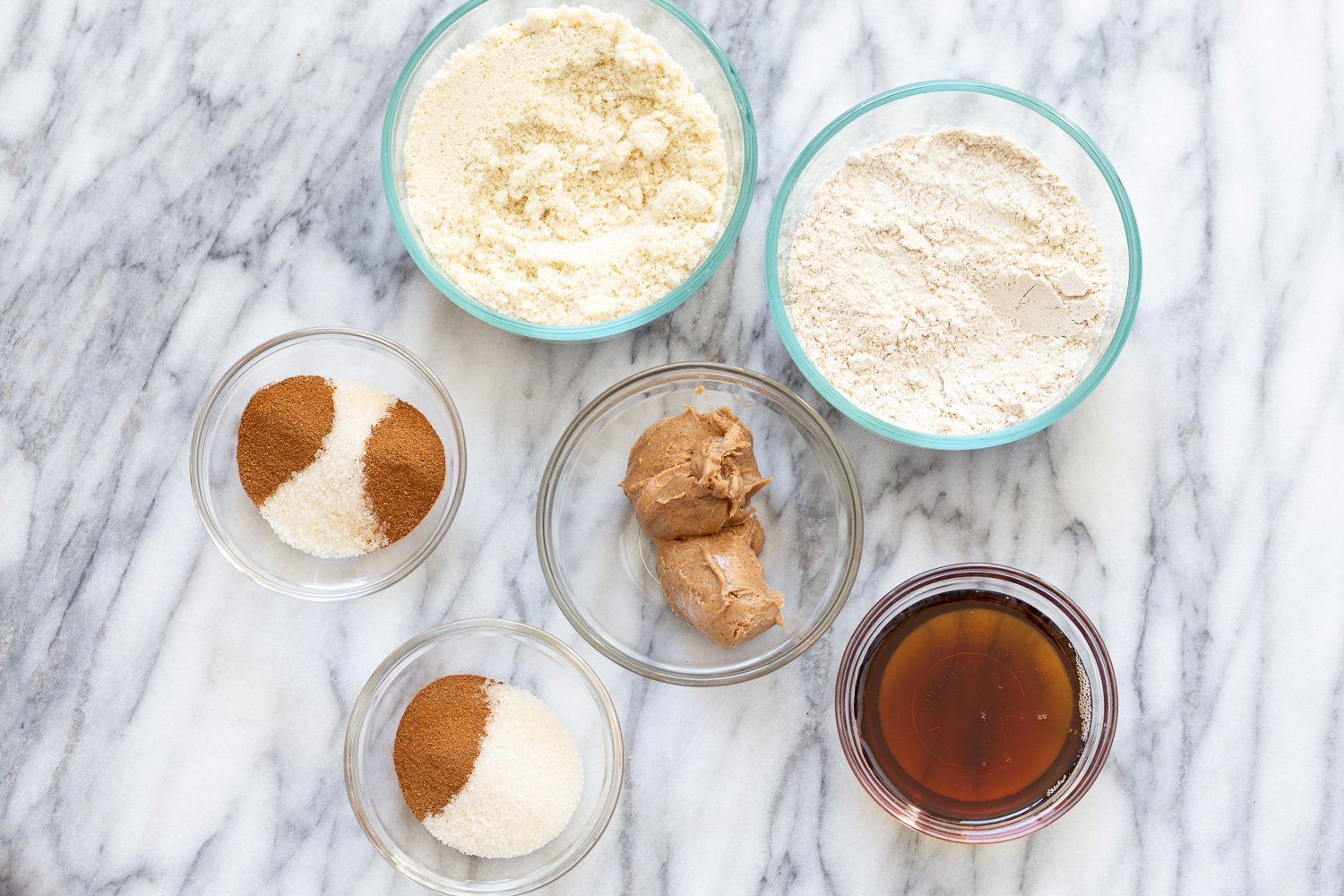 overhead shot of ingredients for making Snickerdoodle Bites