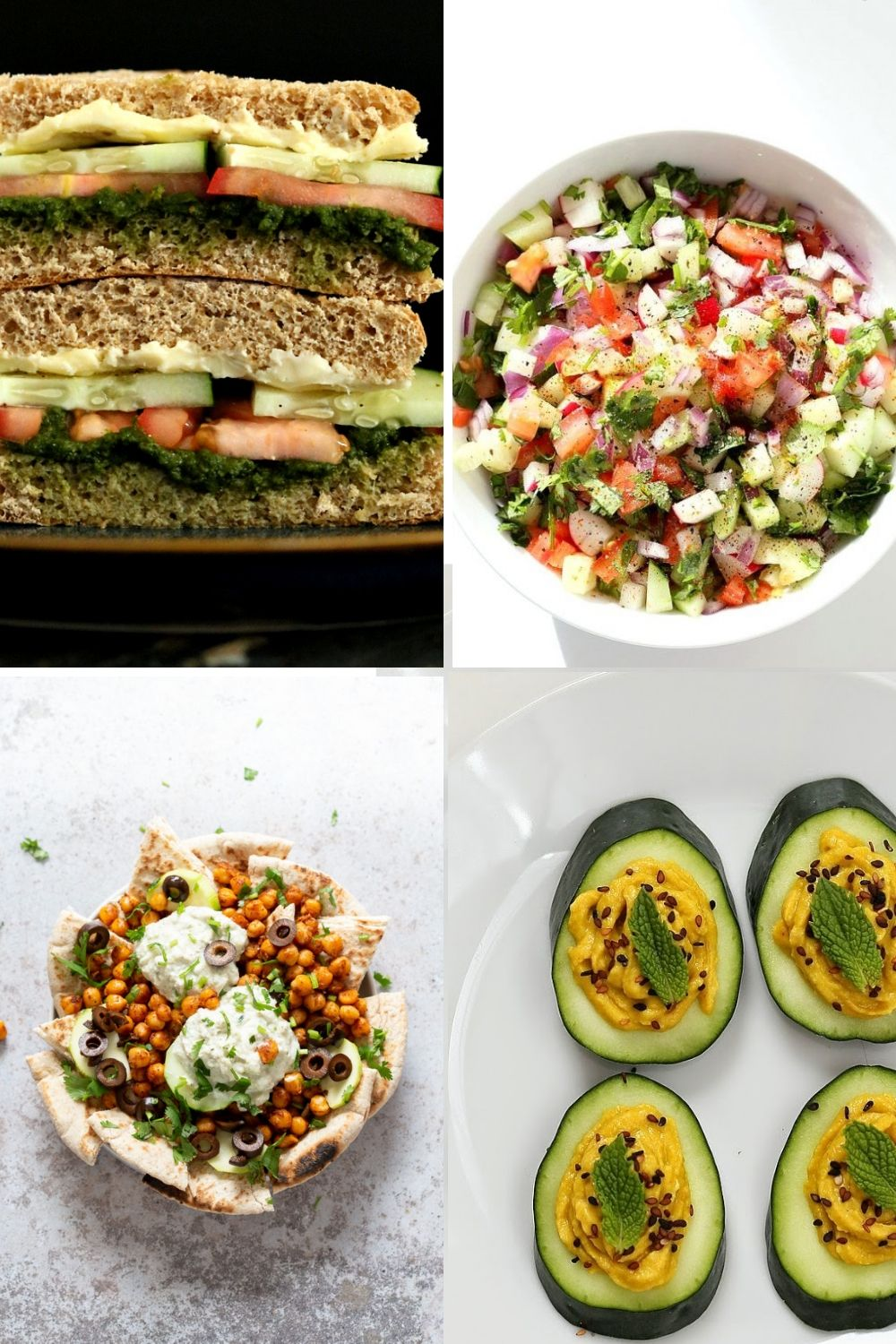 collage of cucumber recipe ideas