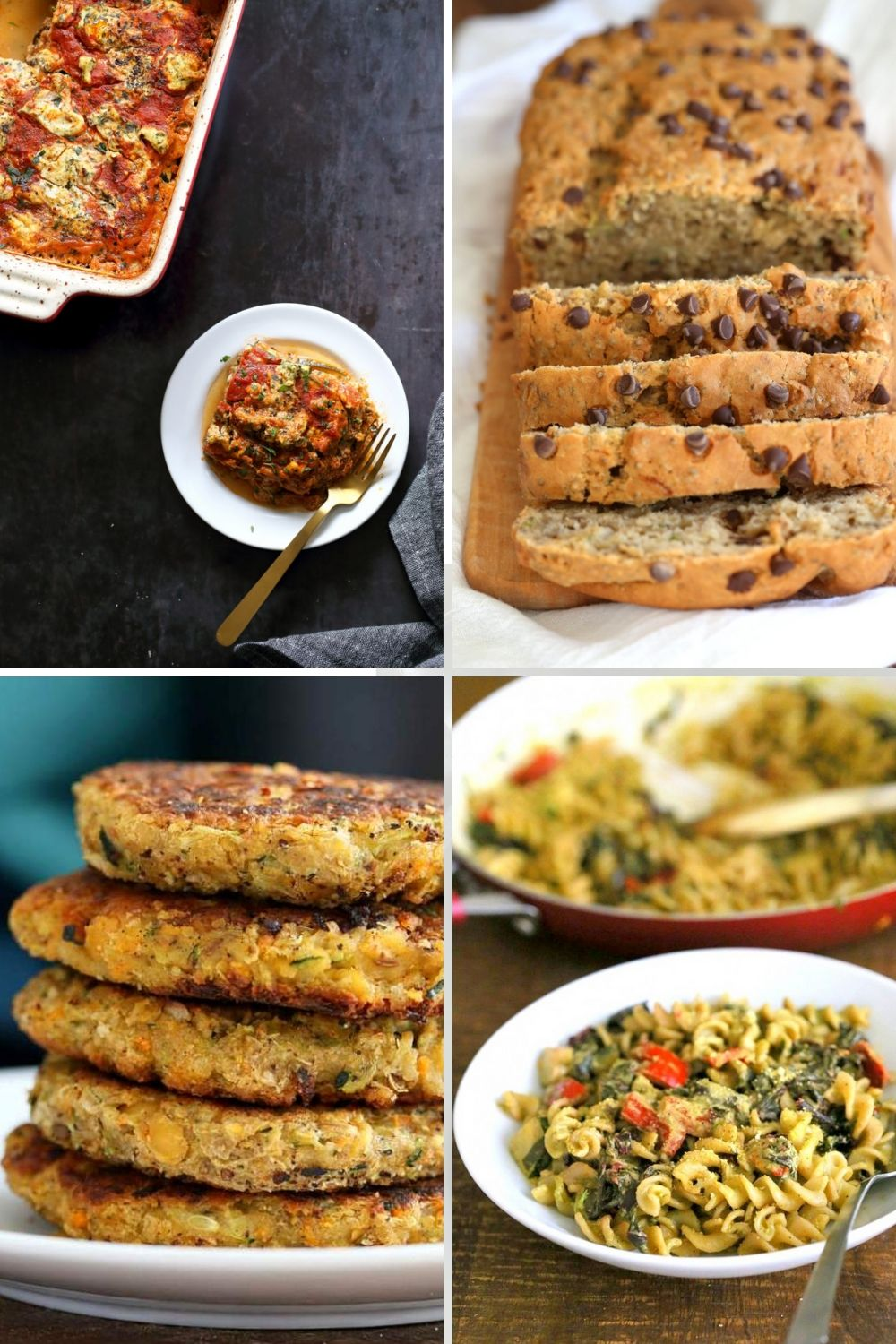 collage of zucchini recipe ideas