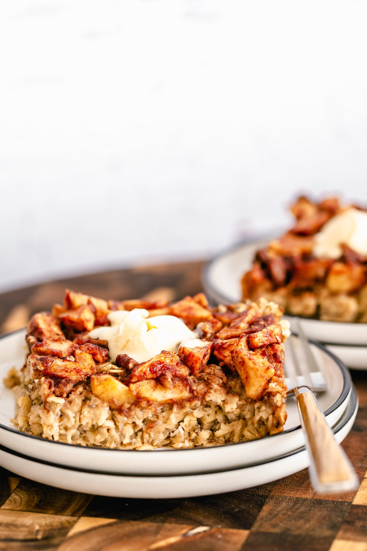 a slice of vegan apple pie baked oatmeal