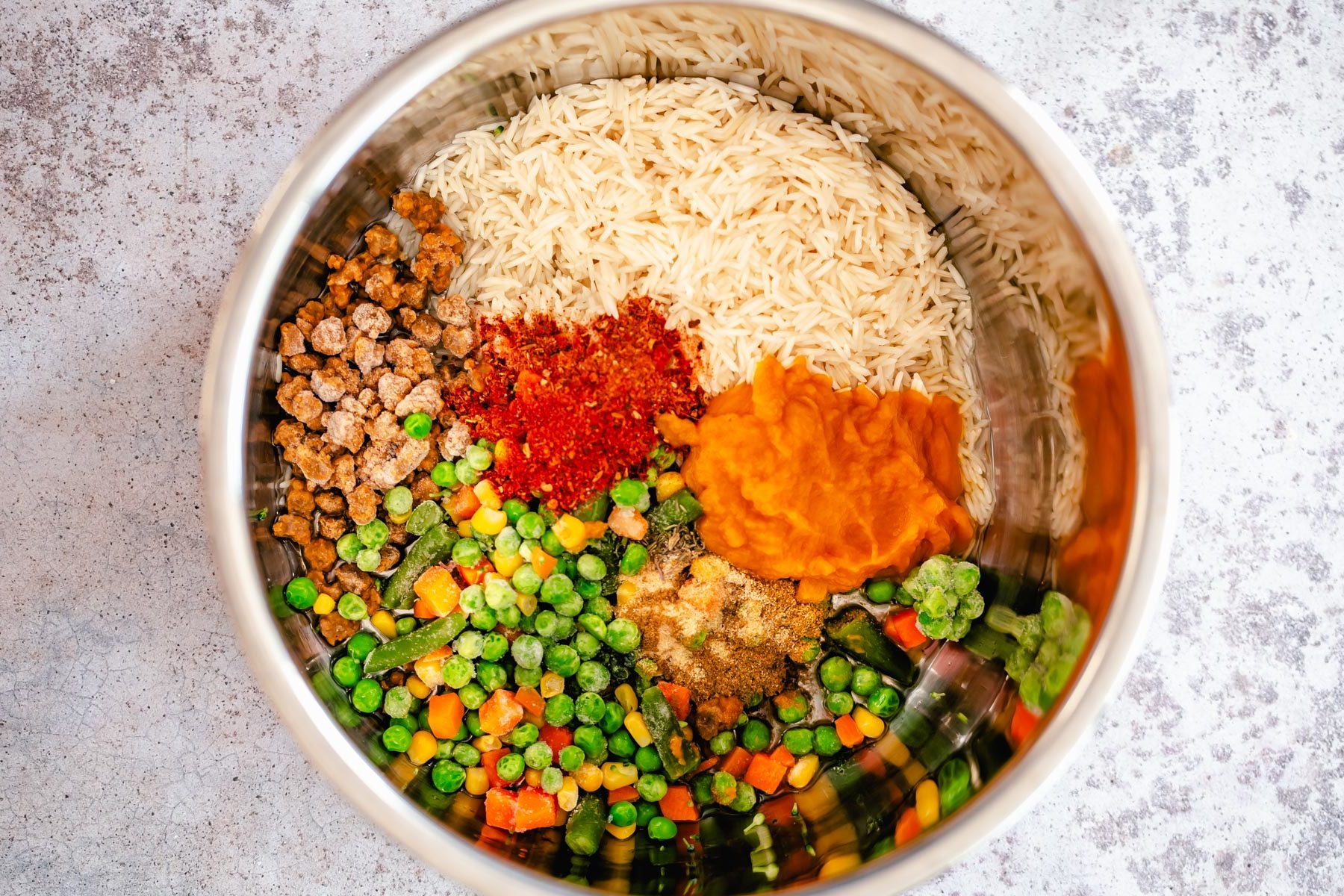 ingredients for making Pumpkin fried rice in an Instant Pot
