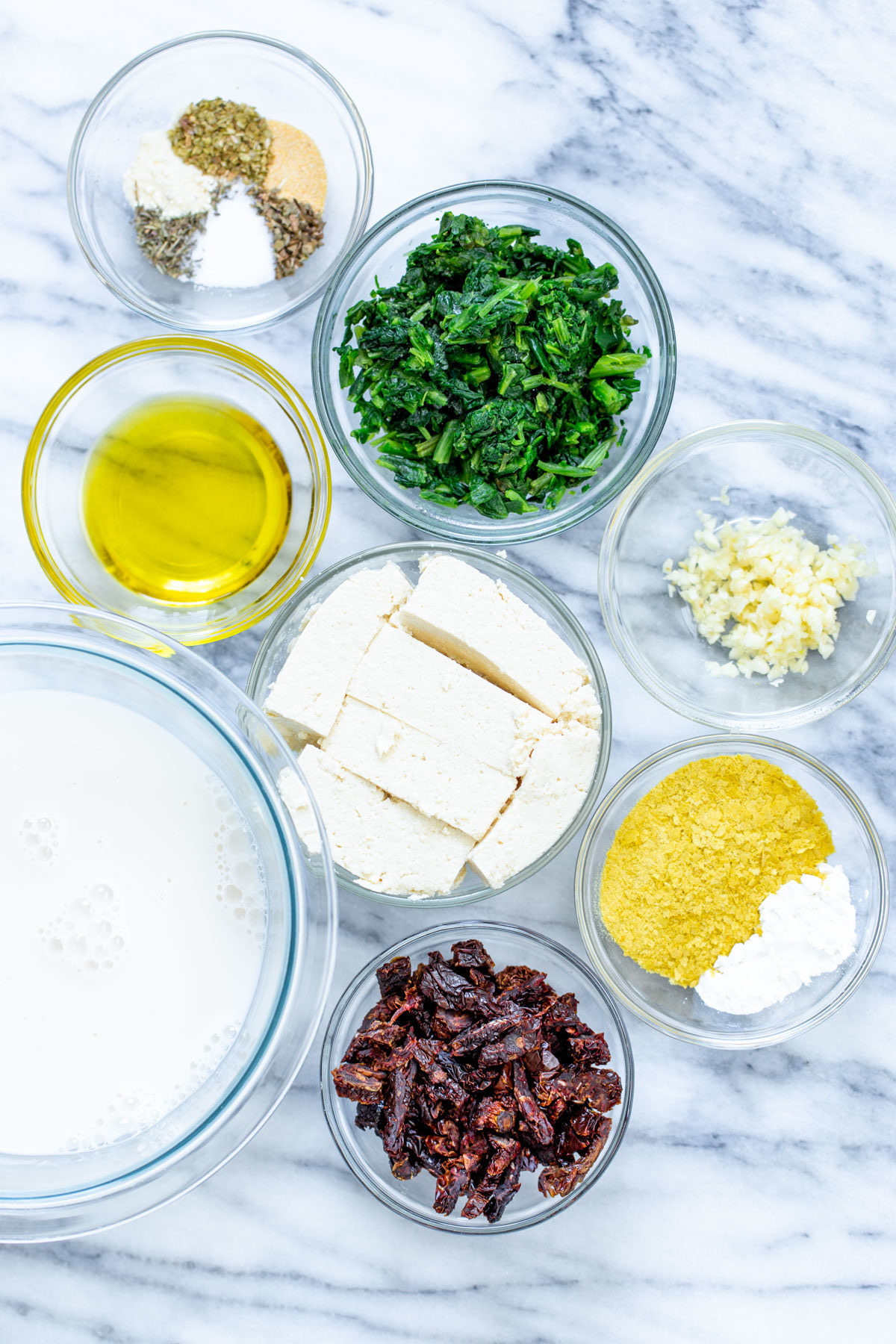 ingredients needed for making vegan creamy Italian spaghetti squash bake