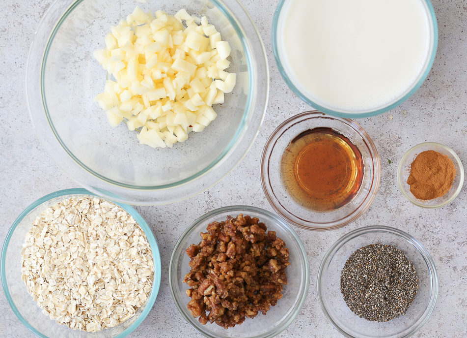 overhead shot of ingredients used for making vegan apple pie oats