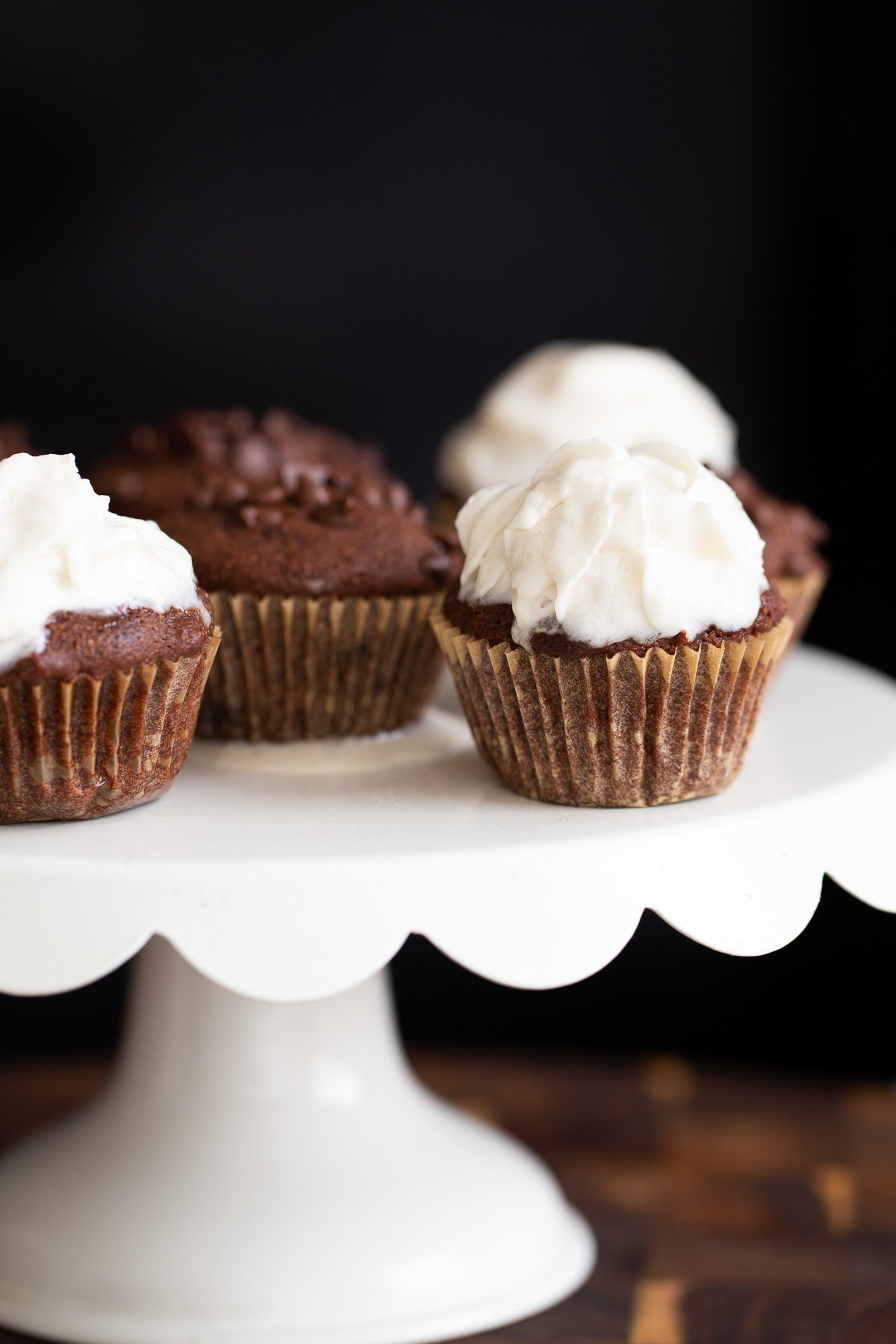 glutenfree vegan chocolate cupcakes on a cupcake stand