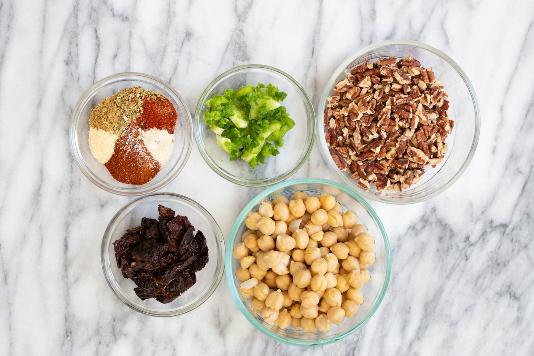 overhead shot of ingredients needed for making vegan walnut taco meat
