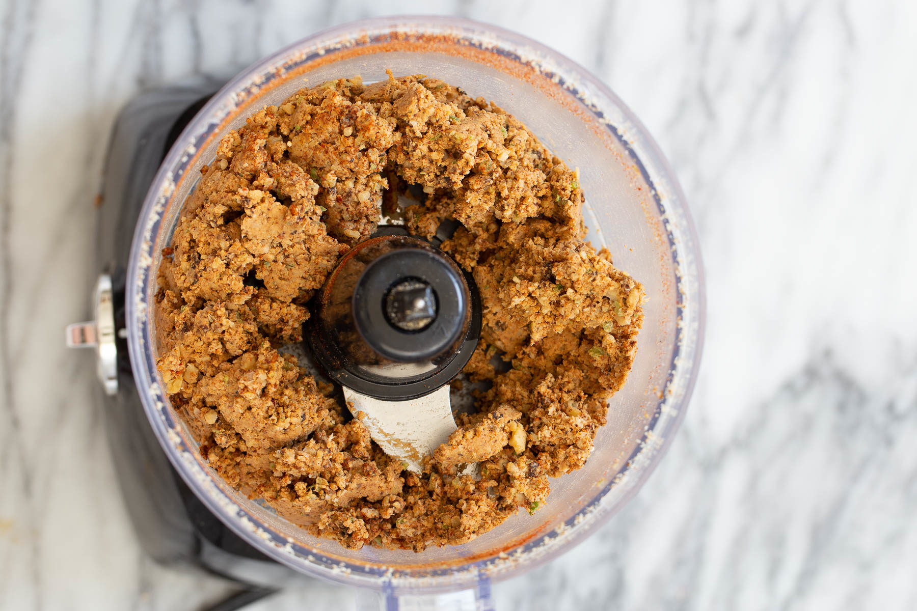 blended chickpea walnut taco meat in a food processor