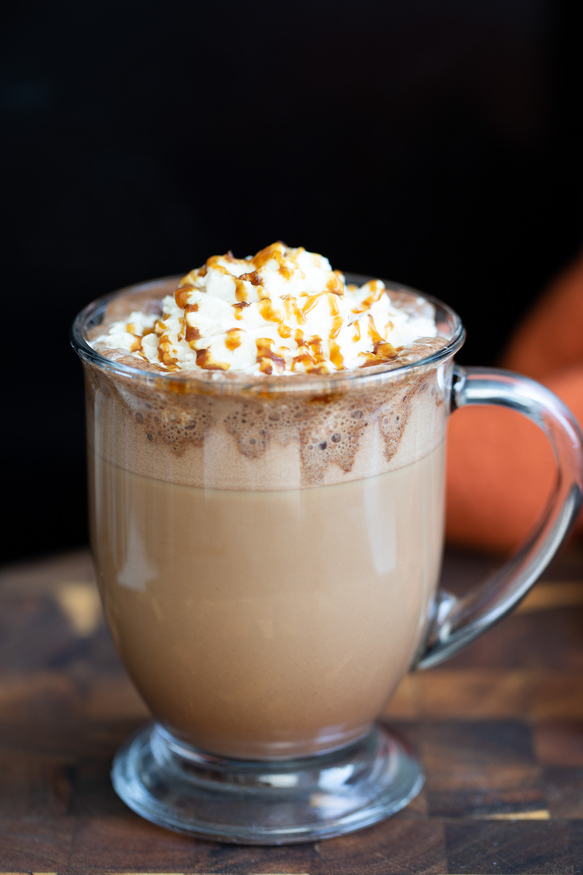 a glass of Starbucks Copycat Vegan Caramel Mocha