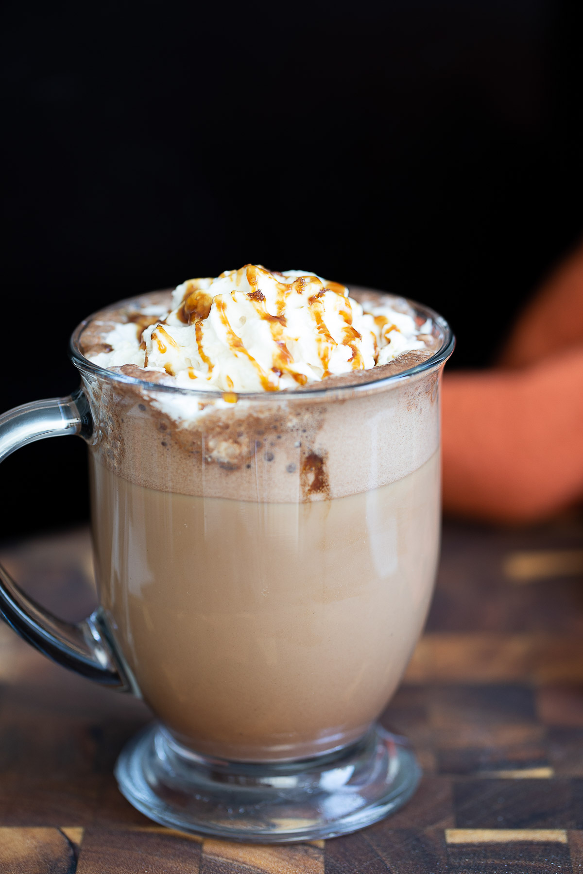 a mug of salted caramel mocha with whipped cream