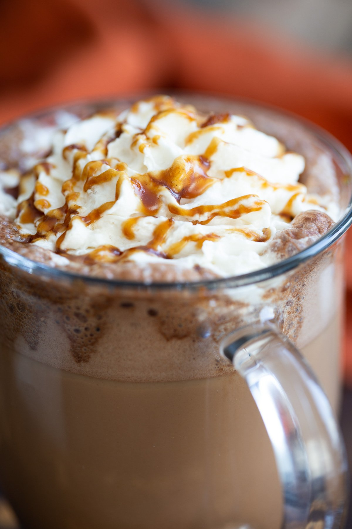 close-up of salted caramel mocha in a glass mug