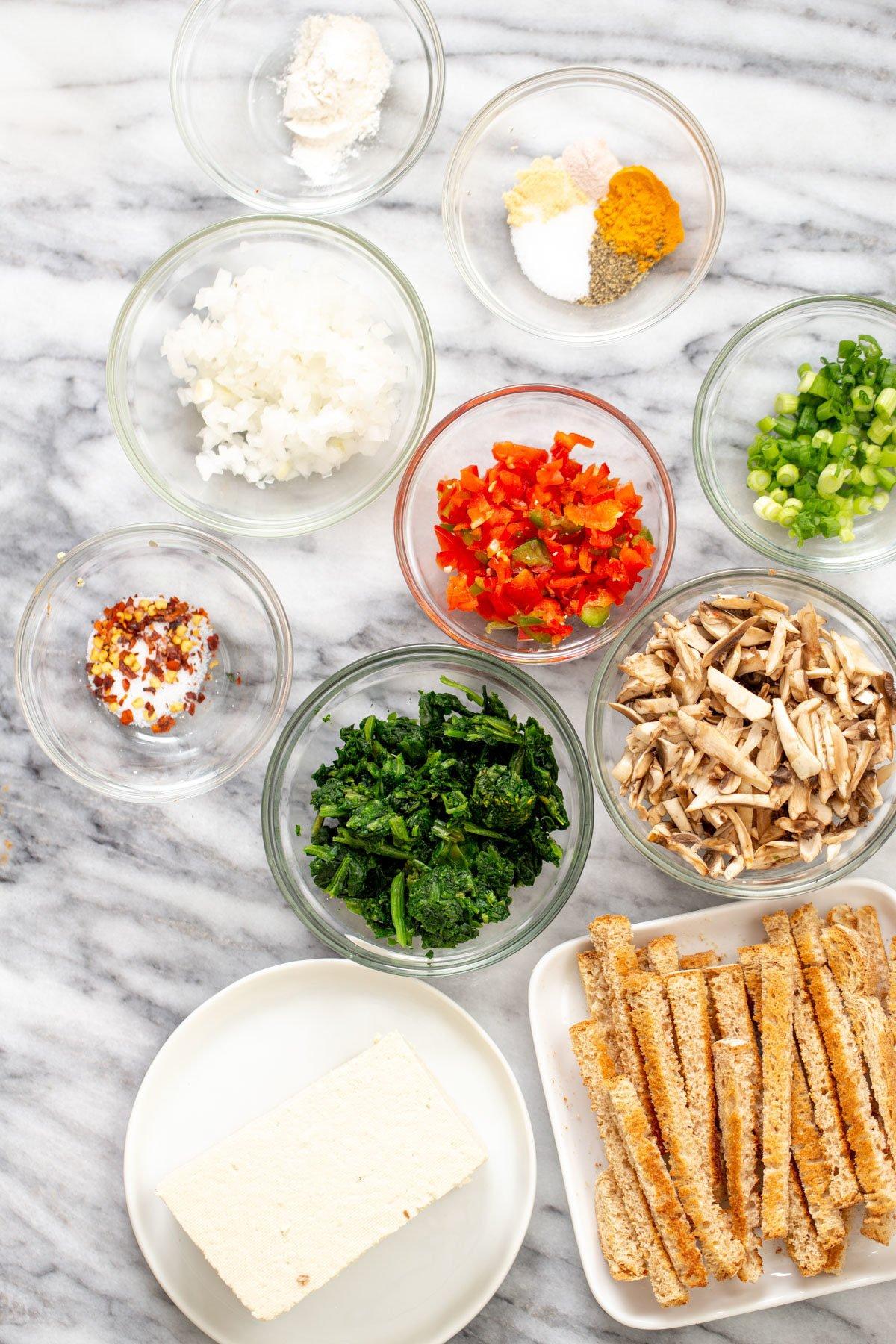 ingredients for making vegan egg casserole