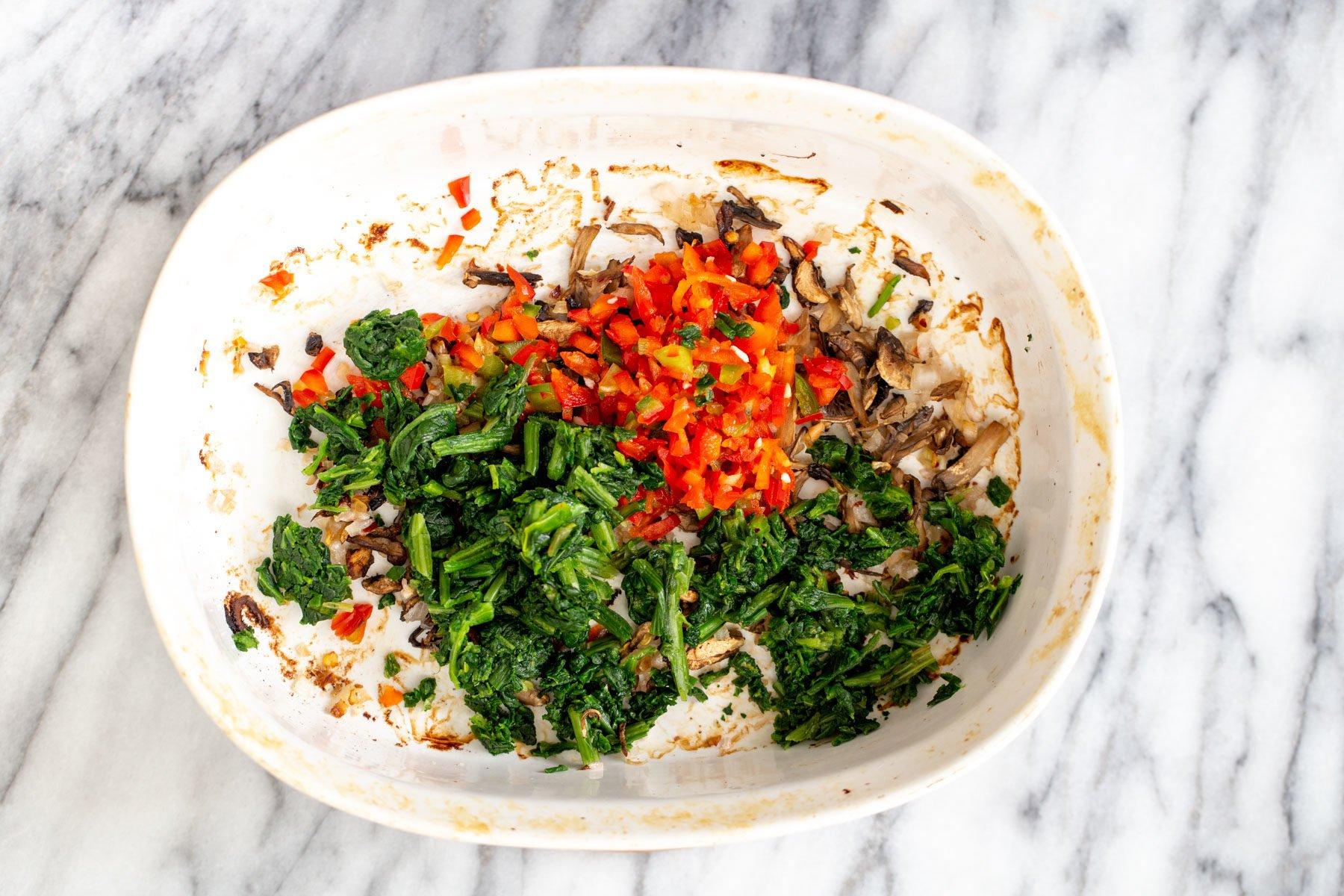veggies for vegan breakfast casserole in a casserole dish