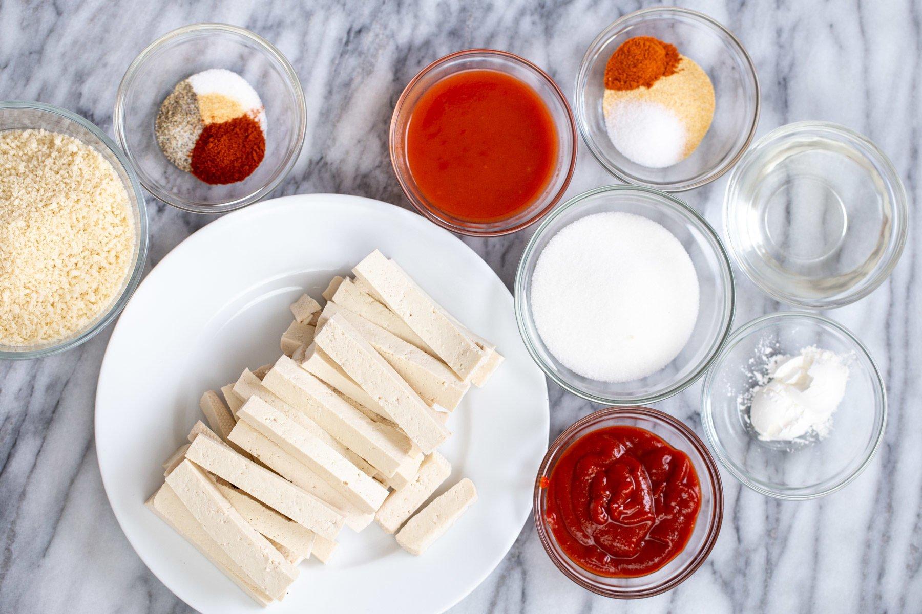 overhead shot of ingredients needed for making vegan firecracker tofu