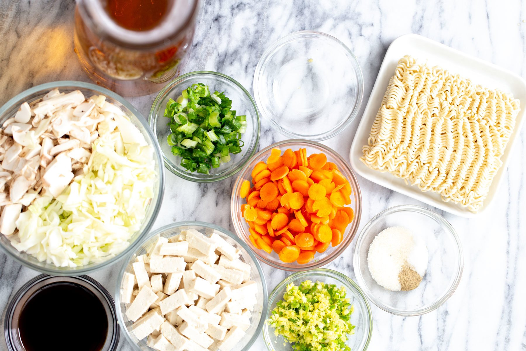 overhead shot of ingredients needed for making vegan hot and sour soup