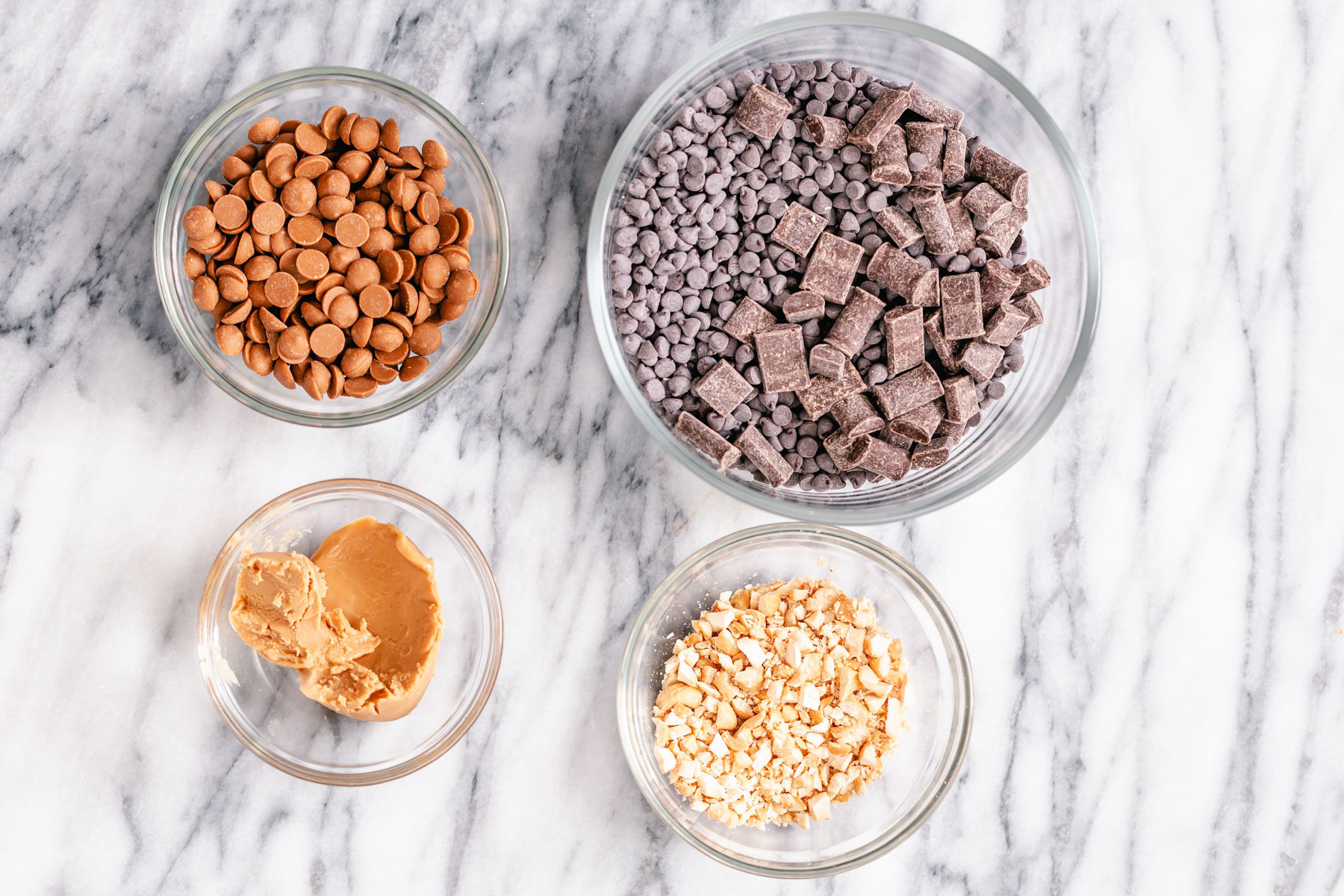 ingredients used for making vegan peanut butter chocolate bark