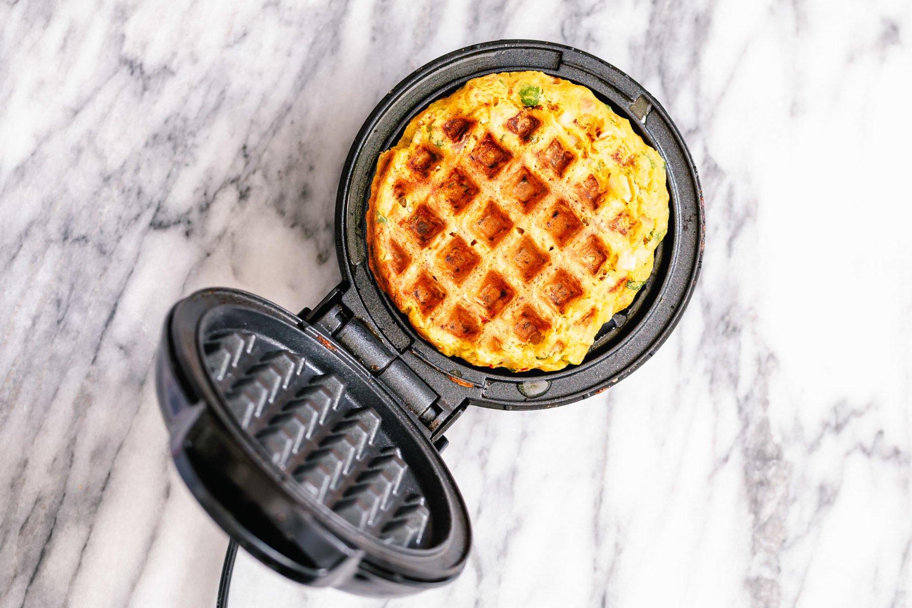 a crisp pakora waffle in a waffle maker