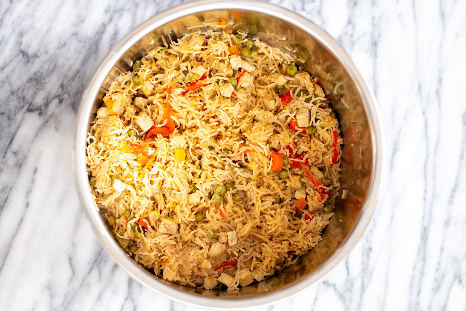 vegan teriyaki fried rice in an Instant Pot