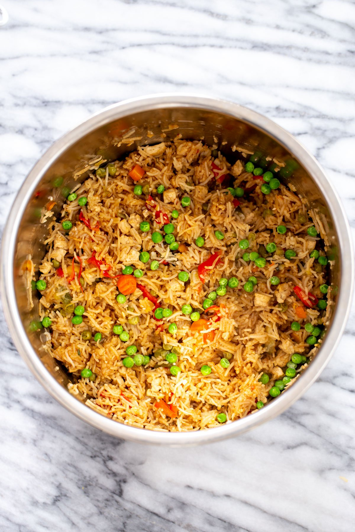 vegan Instant Pot Teriyaki Fried Rice in a pot