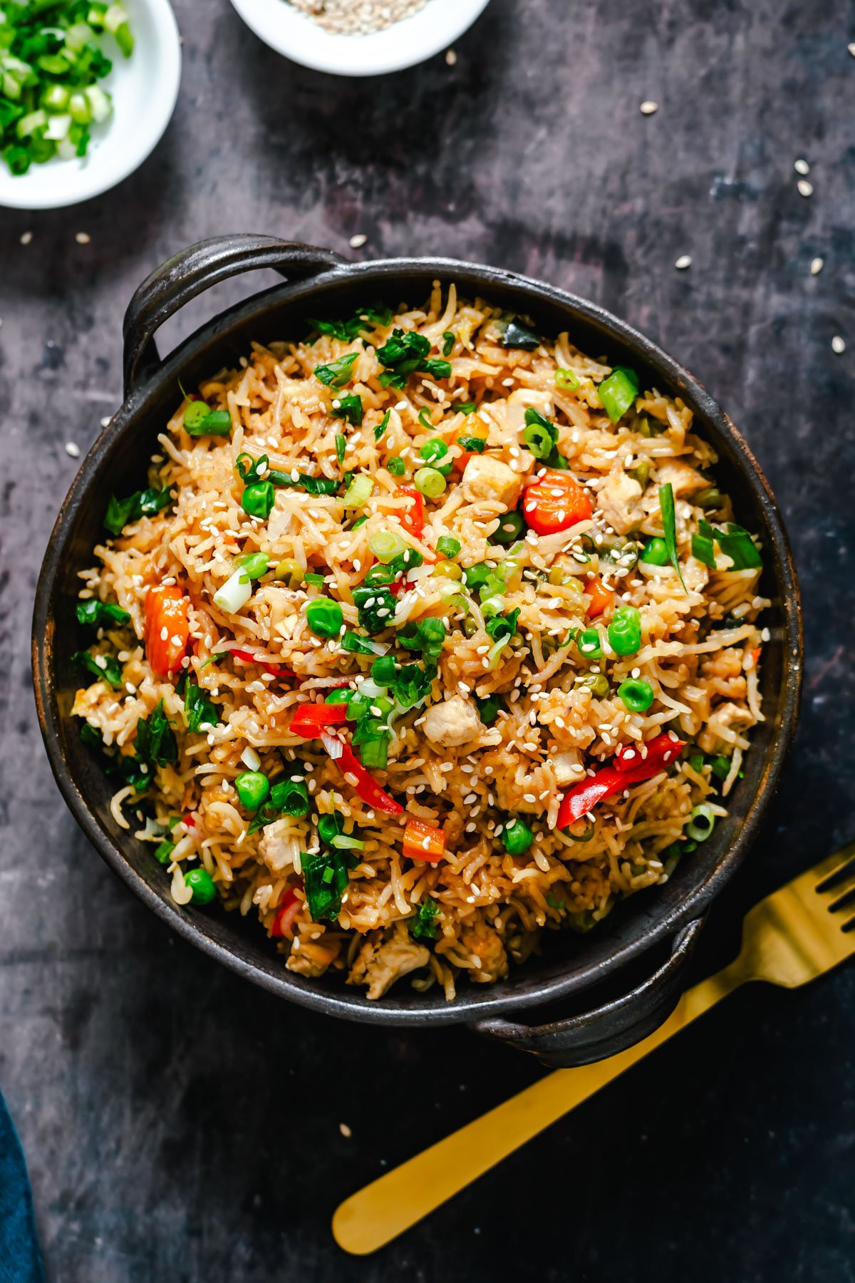 Instant Pot Teriyaki Fried Rice with a fork on the side