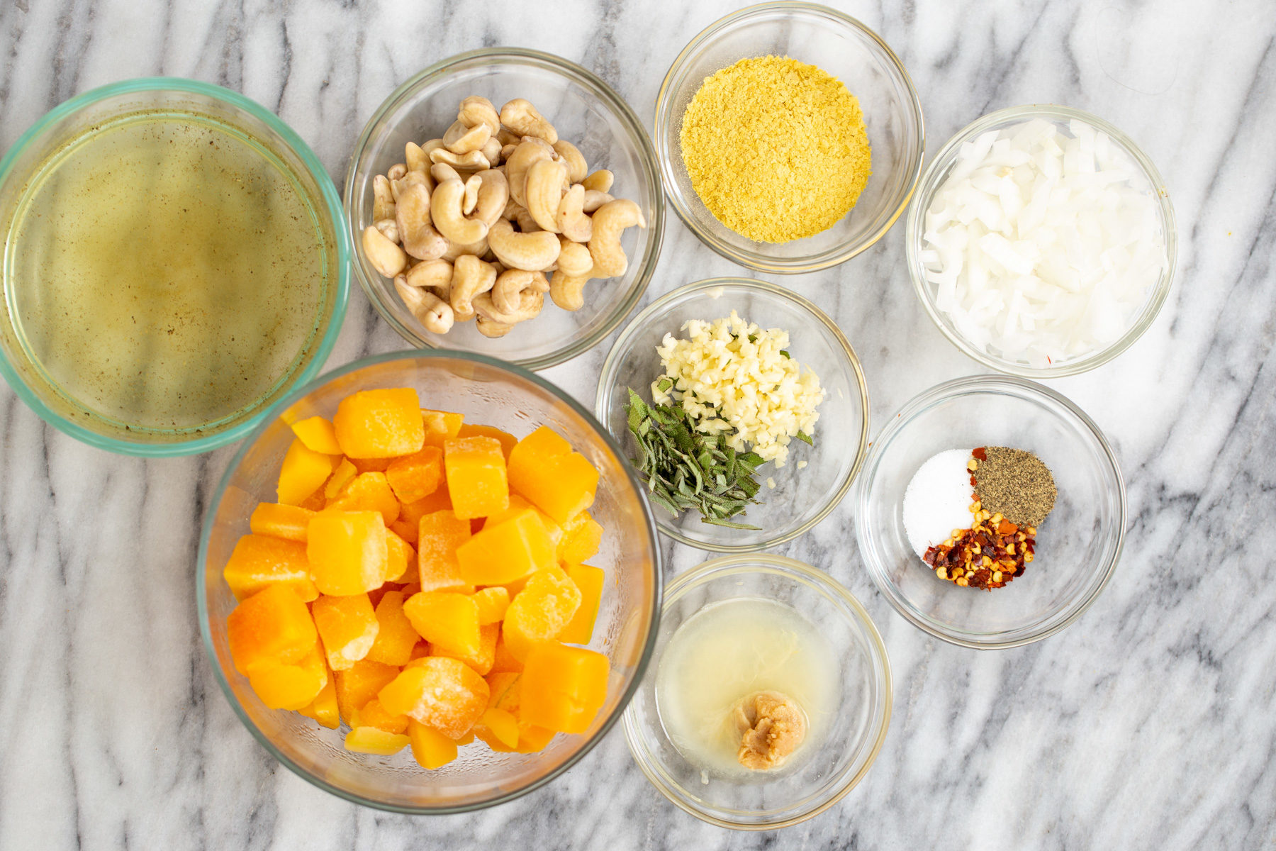overhead shot of ingredients needed for making vegan butternut squash carbonara sauce