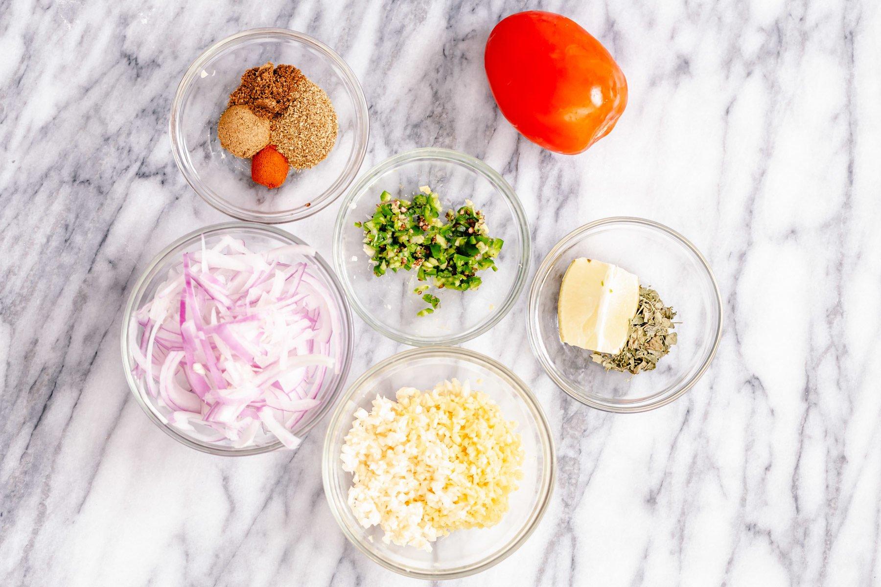 ingredients needed for making vegan aloo gobi