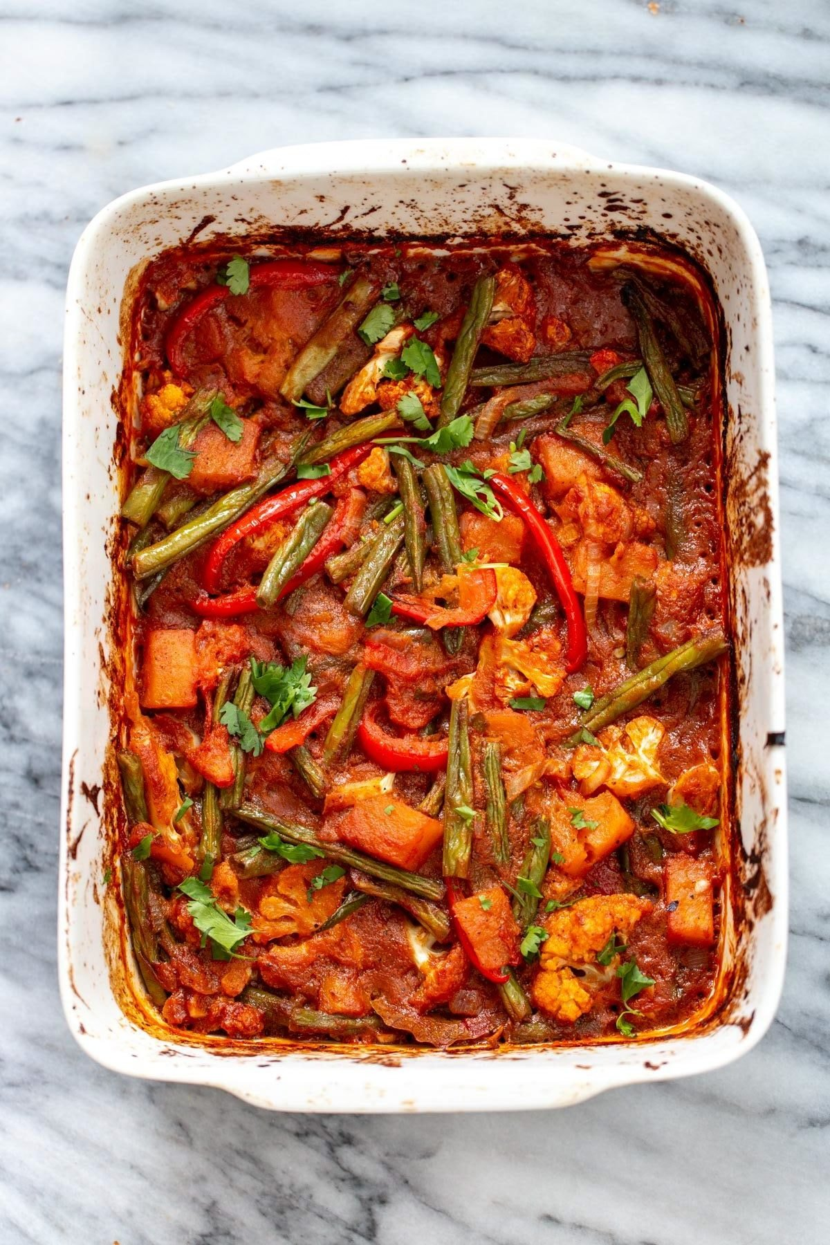 vegan curried vegetable casserole fresh out of the oven