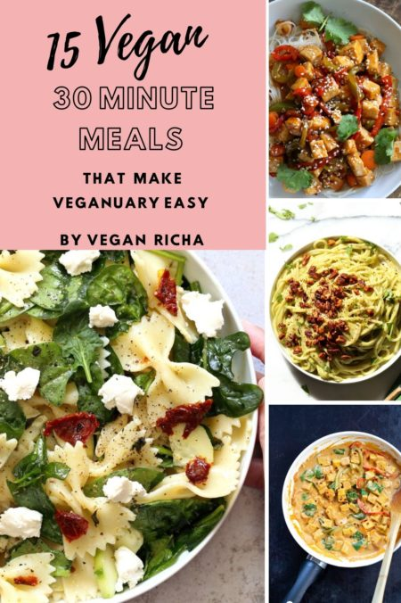 a collage of easy vegan 30 minute meals for veganuary