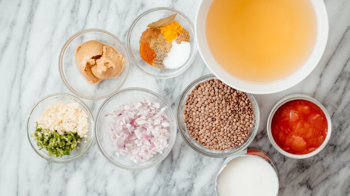 ingredients needed for making vegan lentil casserole