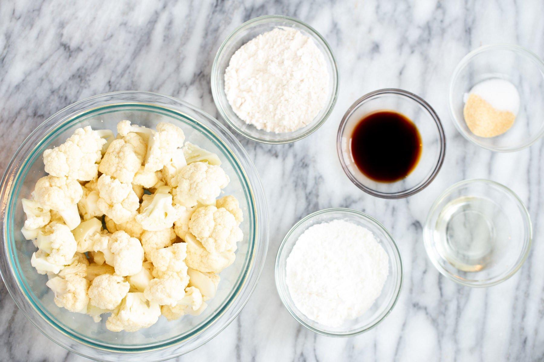 ingredients for making baked vegan general tso cauliflower