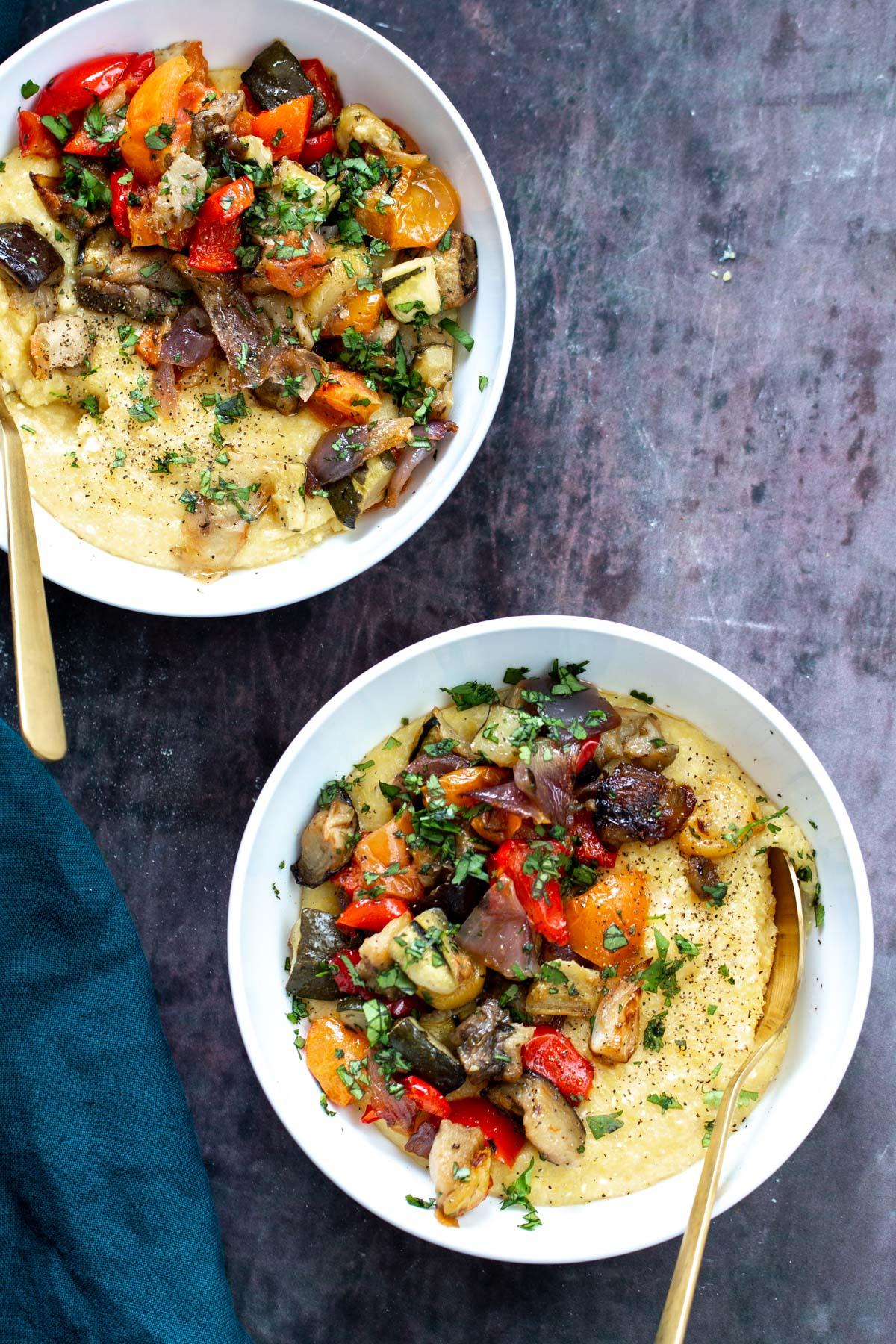 sheet pan ratatouille served over vegan polenta