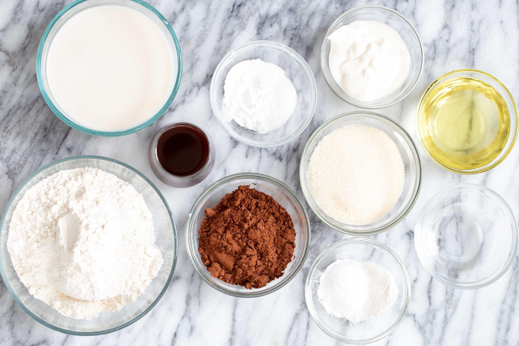 ingredients needed for making vegan German Chocolate Loaf Cakes