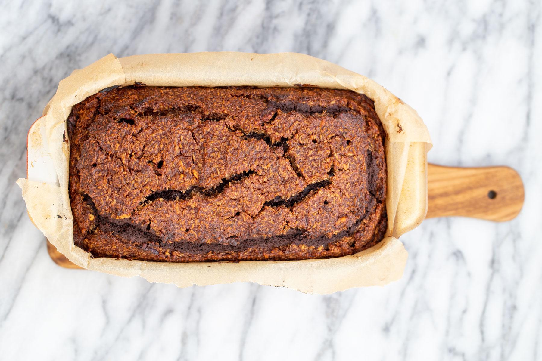overhead shot of freshly baked German Chocolate Loaf Cake