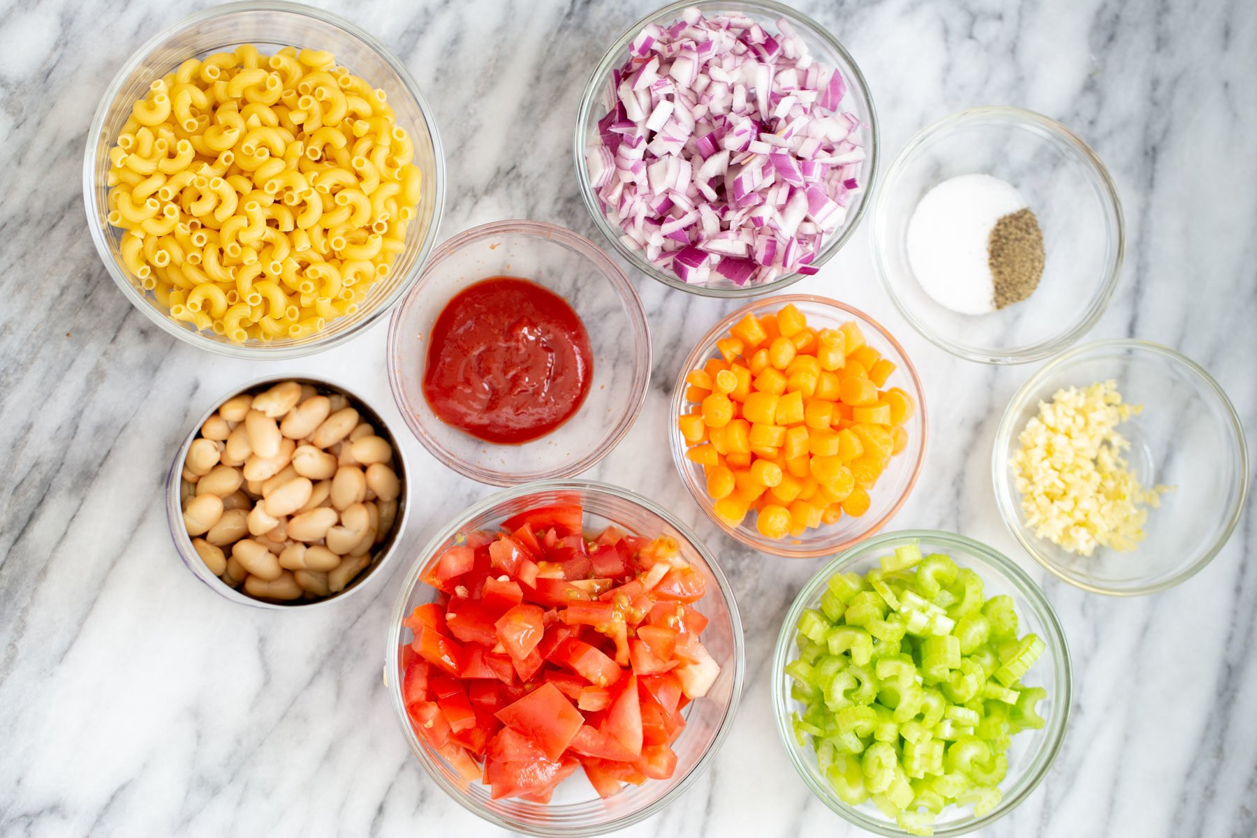 overhead shot of ingredients needed for making pasta e fagioli