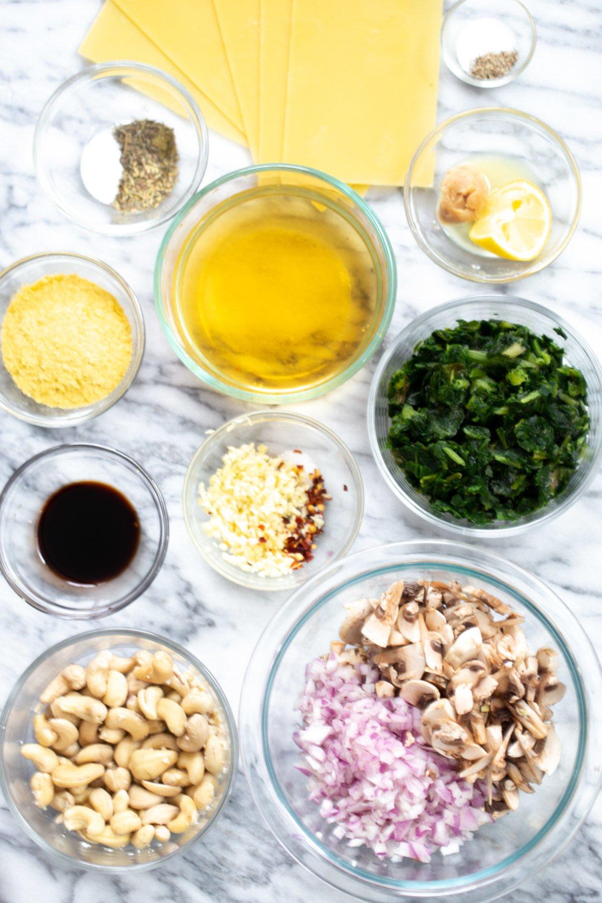 ingredients needed for making vegan skillet lasagna