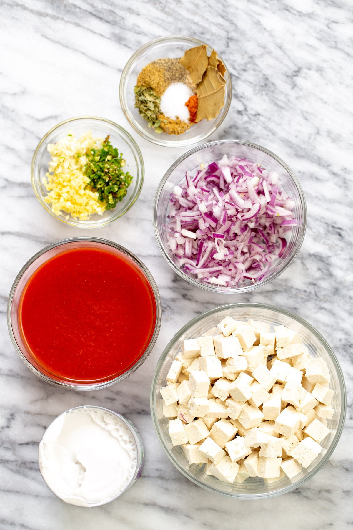 ingredients needed for making baked tofu curry