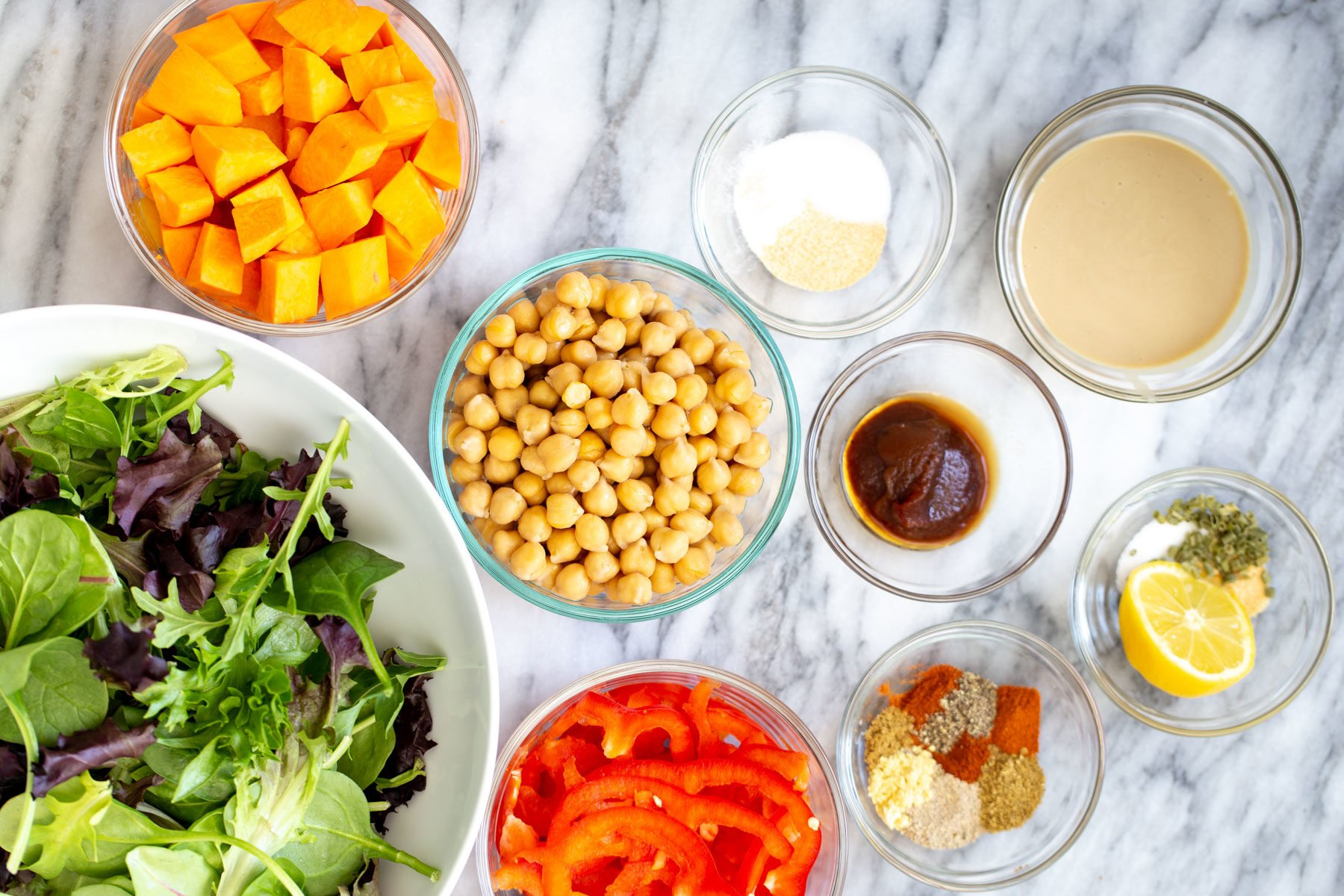ingredients needed for making salad sweet potato chickpea salad bowls