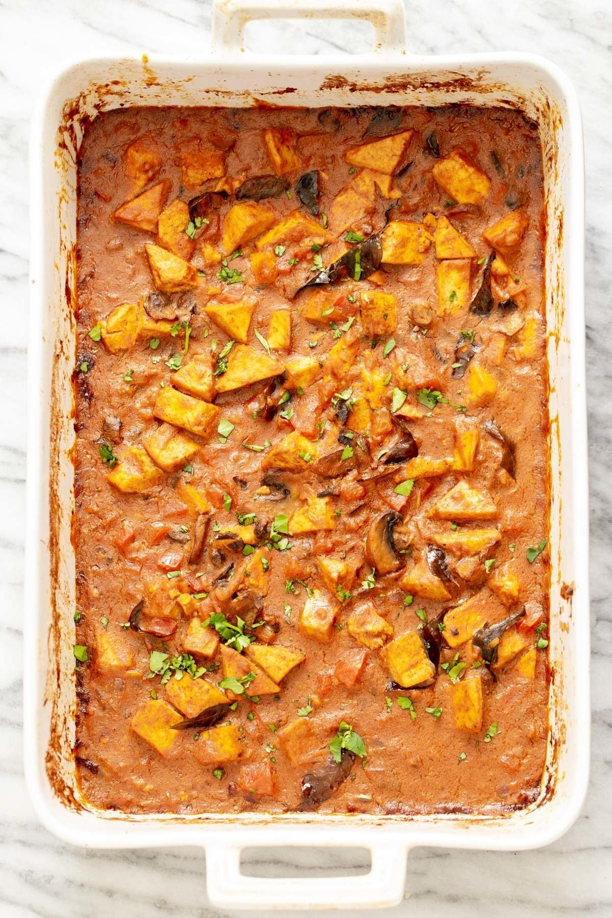 Indian Curry Tofu Casserole fresh out of the oven