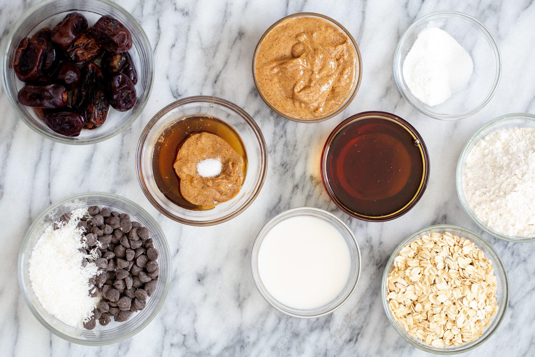 ingredients needed for making vegan date caramel oatmeal bars