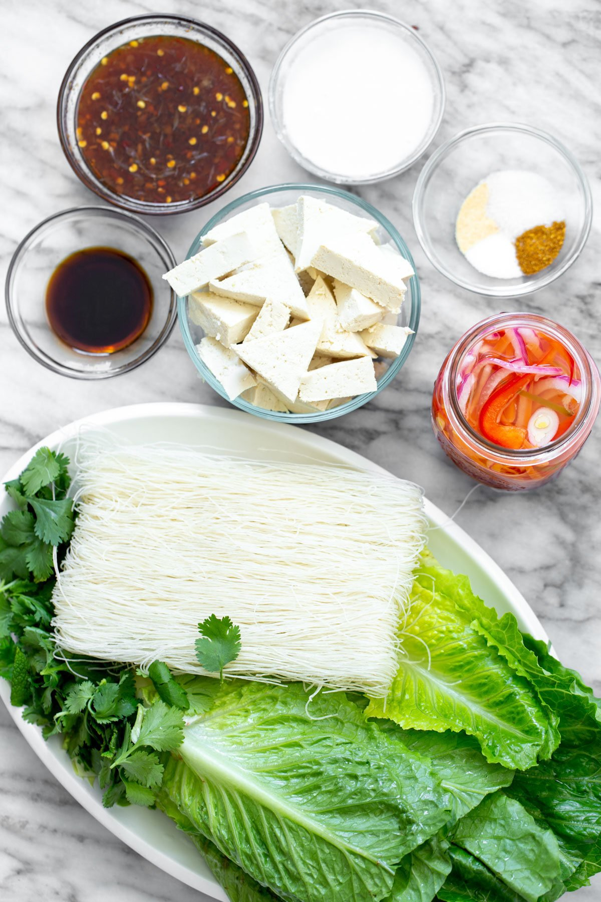 ingredients needed for making tofu noodle bowls