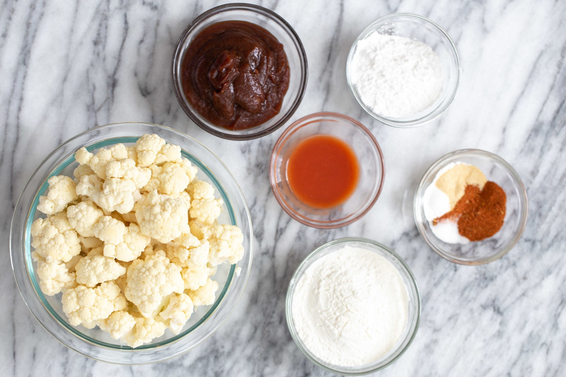 ingredients needed for making baked beer battered bbq cauliflower wings