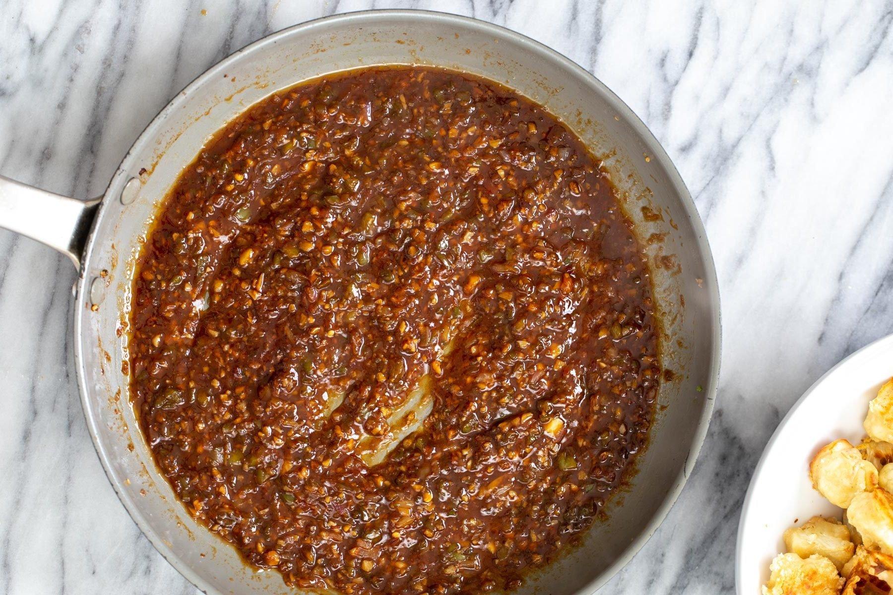 cauliflower manchurian sauce in a saucepan