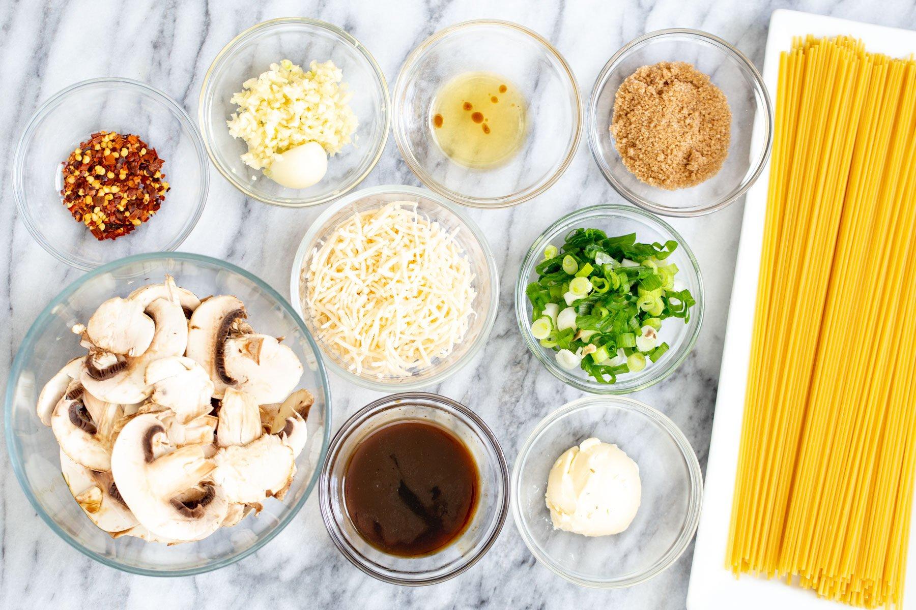 ingredients for vegan garlic noodles