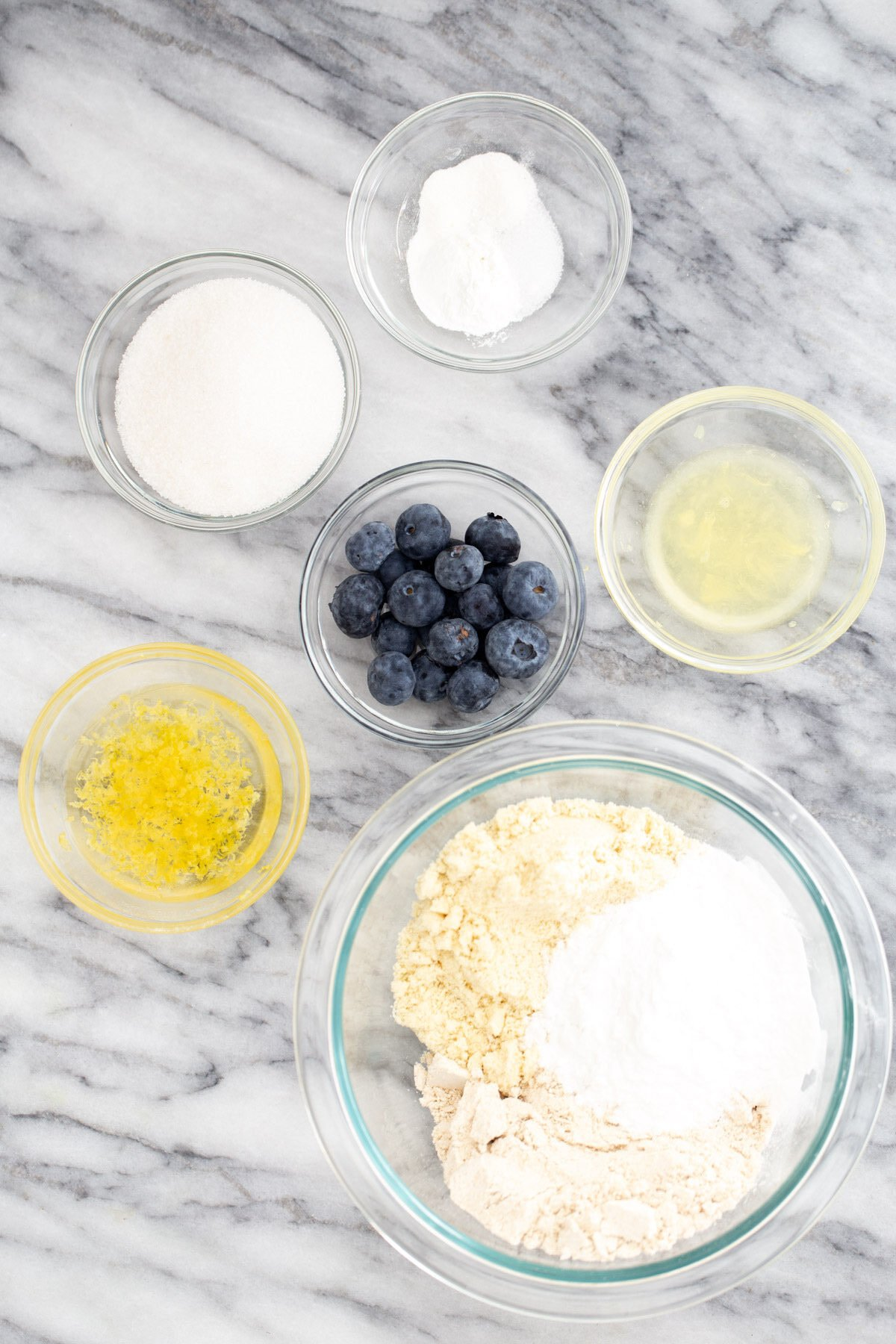ingredients needed for making glutenfree vegan lemon blueberry waffles