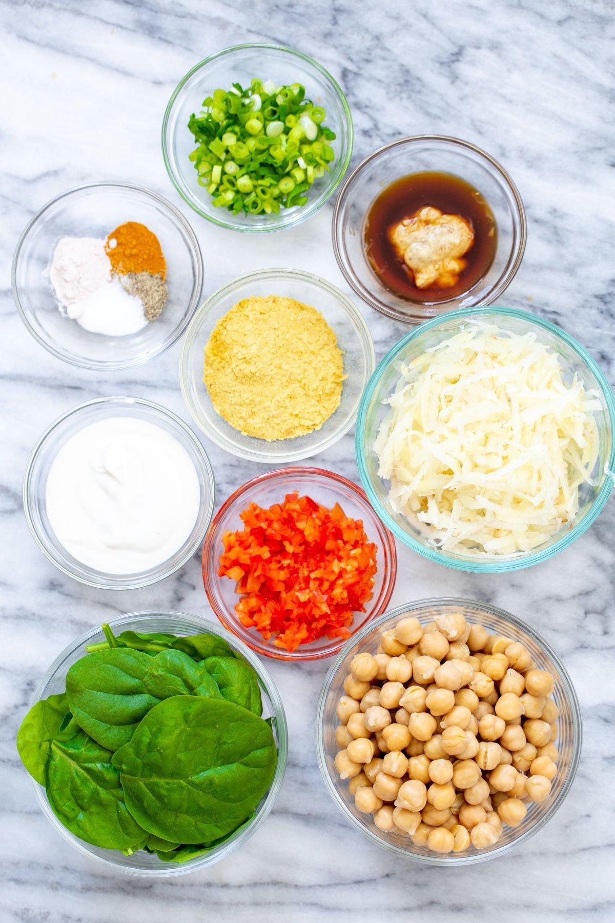 ingredients used to make vegan chickpea breakfast rolls