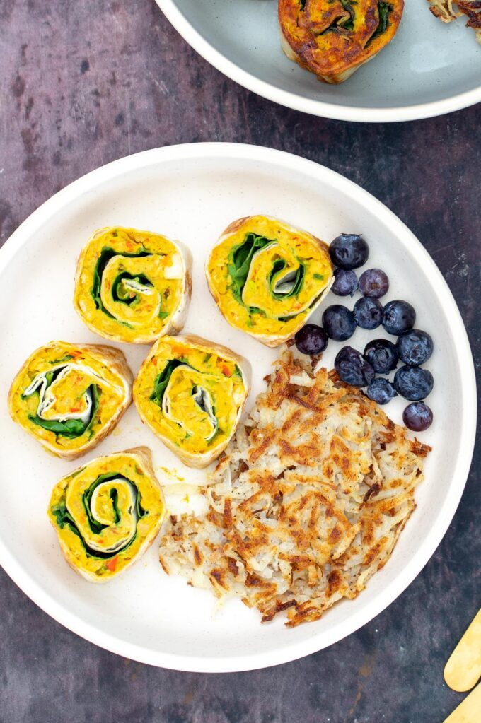 chickpea scramble pinweels served with blueberries