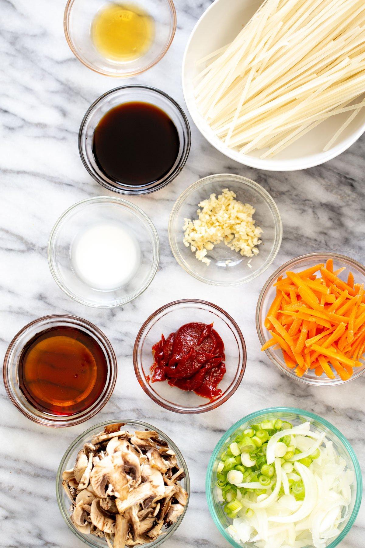 ingredients for Korean Gochujang Noodles
