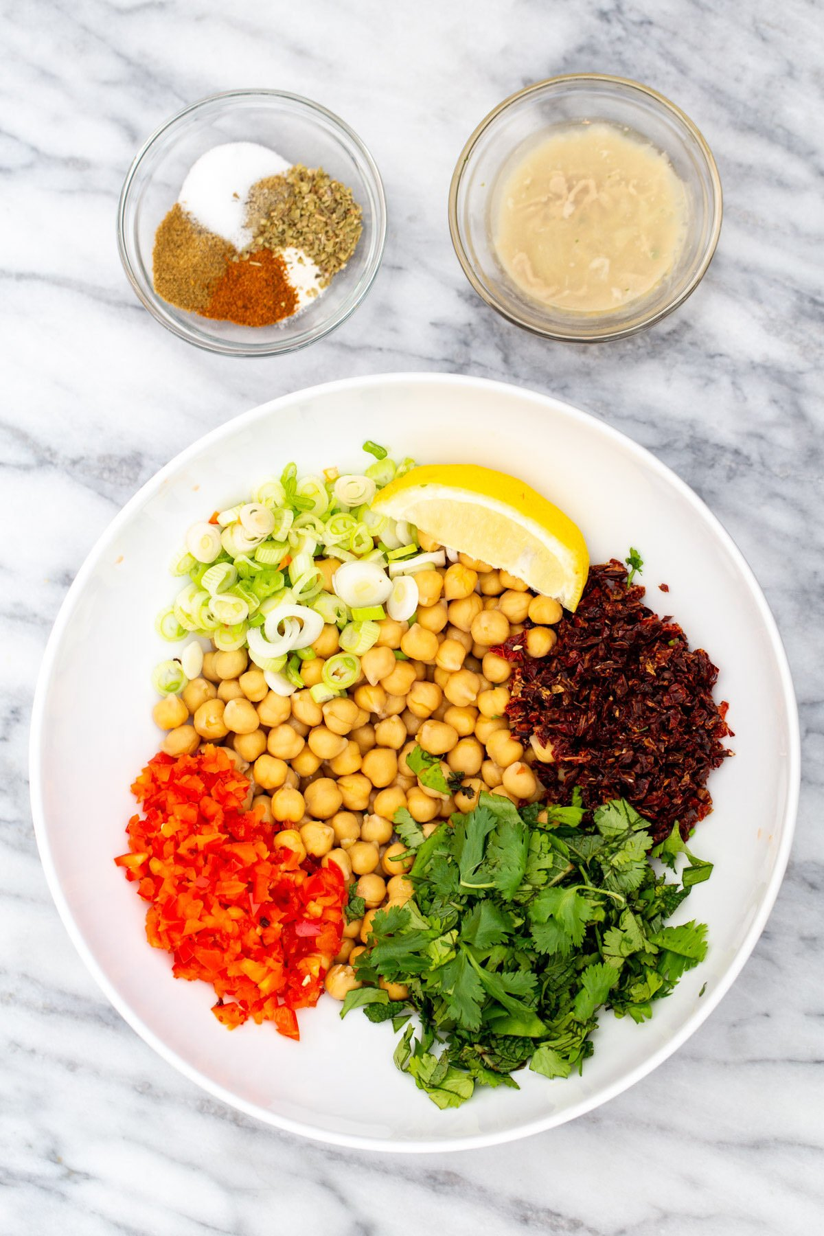 ingredients needed for making vegan Mediterranean chickpea salad