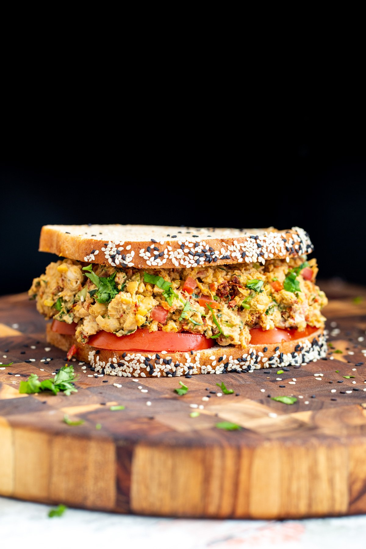 Mediterranean Sandwich with chickpea salad with lemon tahini dressing