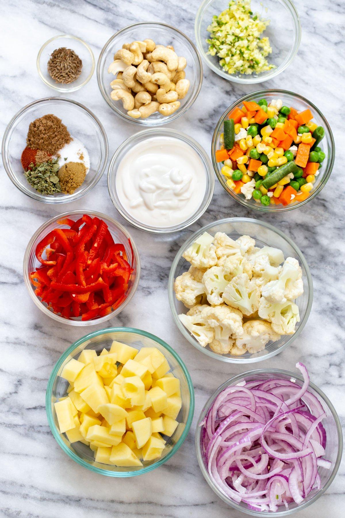 ingredients used for making vegan diwani handi vegetables